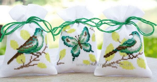 Green Birds And Butterfly Pot Pourri Bags Cross Stitch Kit